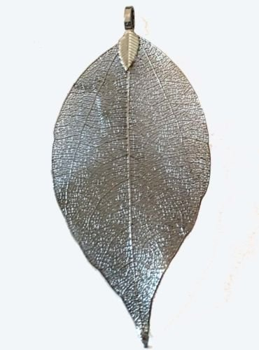 - 55-75mm Natural Leave Gun Black Plated Pendant - Real Nature Walnut Tree Leaf Jewelry Making Supply Charms Wholesale by Wholesale Charms