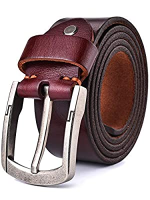 Alice & Elmer Men's Super Soft Top Grain Leather Belt (Black Brown Coffee Tan; Fit Waist Size:30''-44'')