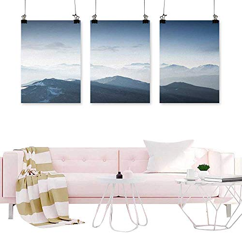 Ice Rock Climbing - Loruoaine Canvas Prints Modular Picture Mountain,Foggy Scenic Morning in Rock Mountain Region in Northern Hiking Climbing Ice Photo,Soft Blue Painting Triptych Wall Art Pictures