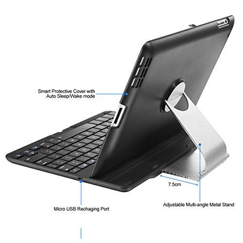 iPad Case, iPad Keyboard Case [NOT for iPad 5, iPad Air, iPad Mini, iPad Pro] New Trent Airbender 1.0 Bluetooth Clamshell iPad Keyboard Case w/ 360 Rotation for iPad 4, iPad 3, iPad 2 ONLY