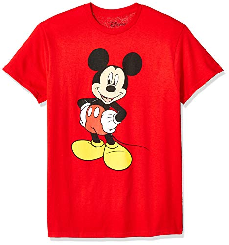 Disney Mickey Mouse Men's Classic Mickey Mouse Full Size Graphic Short Sleeve T-Shirt, Red, Medium]()