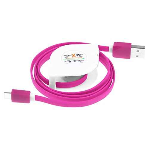 (Puxiaoa Micro USB Charge Cable,USB 3.1Type-C Retractable Cable Data Sync Charging Cable Cord for Samsung Galaxy Note 7 Hot Pink )