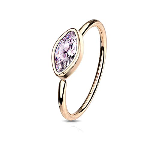 Amelia Fashion 20 Gauge Bezel Set CZ Marquise Bendable Nose Ring Hoop Surgical Steel (Choose Color) (Rose Gold/Pink)