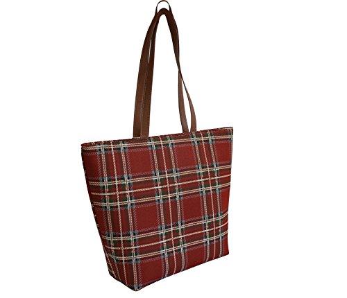 Borsa a tracolla donna Signare in tessuto stile arazzo Shopping alla moda Tartan del Casato degli Stuart