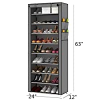 PENGKE 10 Tiers Shoe Rack with Dustproof Cover