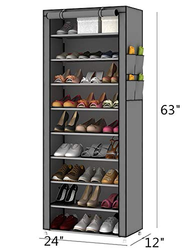 PENGKE 10 Tiers Shoe Rack with Dustproof Cover Closet Shoe Storage Cabinet Organizer,Grey