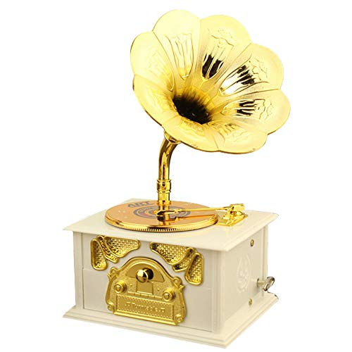 Gramophone Music Box, Classical Trumpet Horn Turntable Gramophone Art Disc Vintage Phonograph Music Box, Home Table Decor Birthday Gift Art Craft (White)