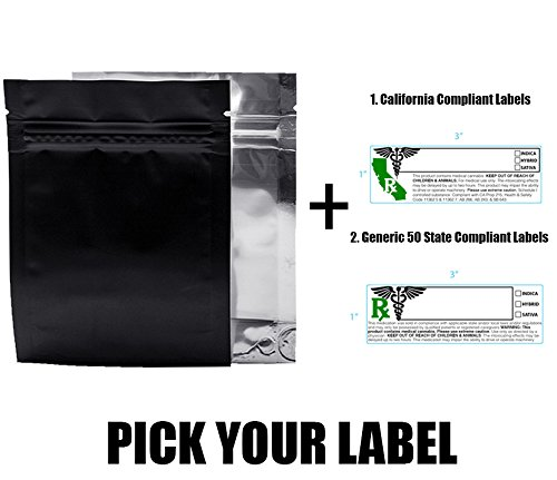 100 Black Smell Proof Mylar Bags w/ Rx Strain Labels Stickers - (1/4 Ounce Bags, Generic Labels)