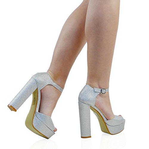 Essex Glam Femmes Peep Toe Cheville Sangle Bloc Talon Sandales De Soirée Argent Paillettes