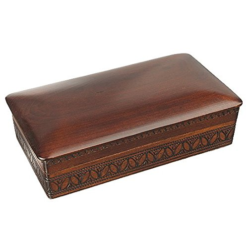 Espresso Stained Linden Wood Jewelry Keepsake Storage Box (Large) Wooden Box -