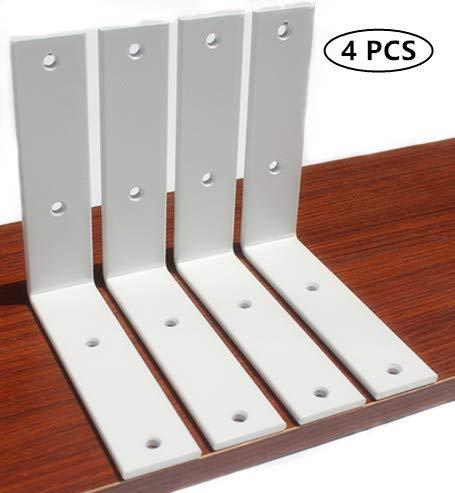 4 Pack White L 6'' x H 6'' x W 1.5'', 5mm Thick L Shelf Bracket, Iron Shelf Brackets, Metal Shelf Bracket, Industrial Shelf Bracket, Modern Shelf Bracket, Decorative Shelving, Shelf Supports with Screws by MHMYDZ