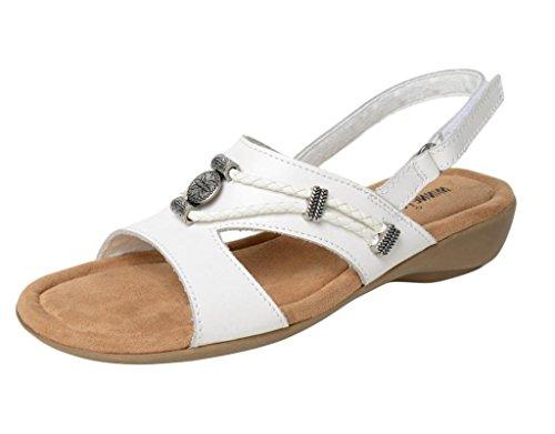 Minnetonka Womens Sylvia Sandal, White Leather, Size 10