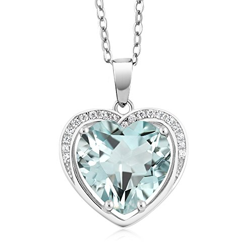 (Gem Stone King 925 Sterling Silver Heart Shape Simulated Aquamarine Pendant Necklace With 18 Inch Silver Chain)