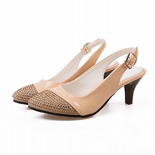 Carol Chaussures Femmes Strass Bling Bling Boucle Sexy Mode Stiletto Mi-talon Sandales Abricot