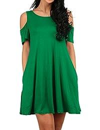 Women's Casual Loose Plain Tunic T-Shirt Dress with...