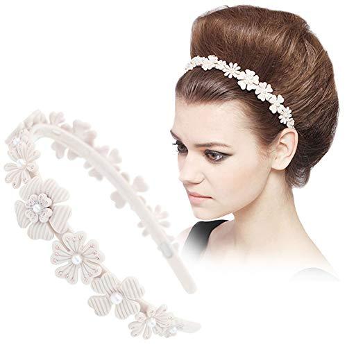 Wedding Bridal Hair Band Headbands for Women Girls Handmade Charms Cellulose Acetate Pearl Rhinestone Flower Hair Accessories Jewelry Hair Ornament Accessory Tiara Crown Headdress Party Prom GUOQUN