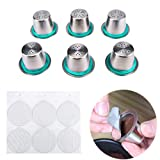 FineInno 6 Packs SUS304 Stainless Steel Refillable Coffee Capsules Pods Reusable Coffee Filter Compatible with Nespresso Original,Include Seal Ring,Free 6 Foil Lids