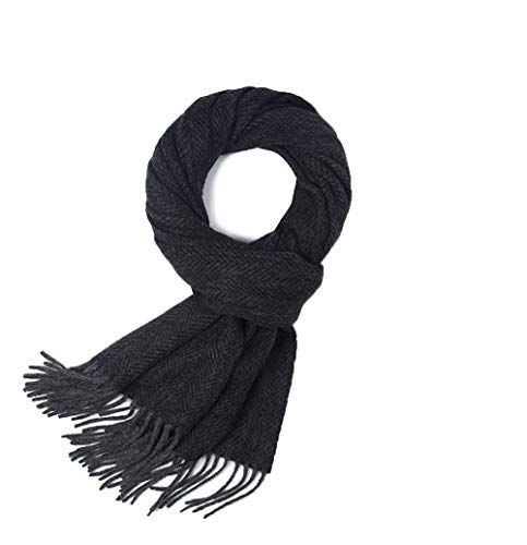 (Mens Cashmere Scarf, Winter Warm Cashmere Wool Blend Soft Fashion Scarfs Wraps for Men (Black herringbone))
