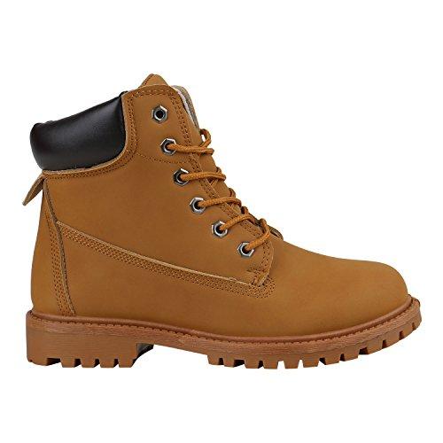 Stiefelparadies Damen Stiefeletten Outdoor Boots Warm Gefütterte Stiefel Flandell Hellbraun Camargo