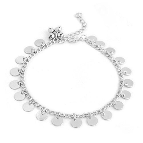 Chain Fringe - Edtoy Metal Beach Chain Punk Retro Style European and American Fringe Bell Anklet Jewelry (Silver)