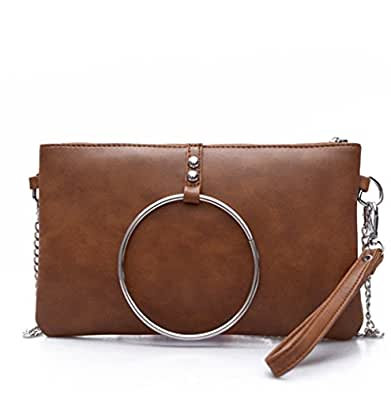 Nodykka Evening Clutch Shoulder Cross Body Bag PU Ring Party Daily Wristlet Handbags Purse Size: One Size