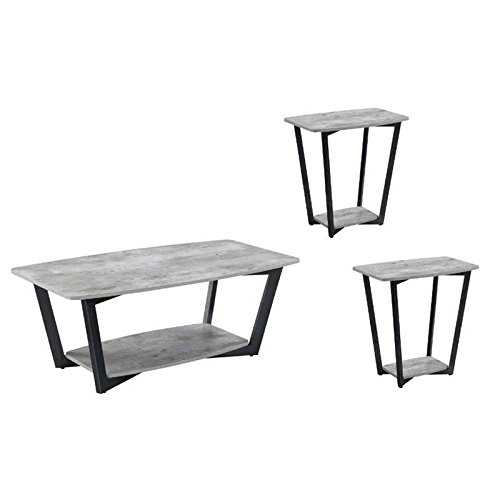 Home Square 3 Piece Coffee Table Set with Coffee Table and Set of 2 End Table in Faux Birch 3 Piece Birch Table