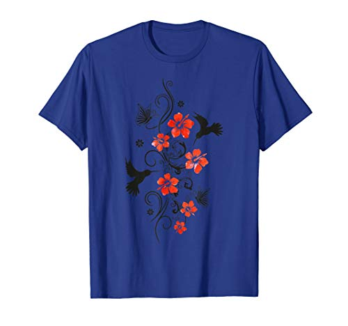 Hummingbird Colibri Tropical Hibiscus Flowers Summer Aloha  T-Shirt (Watercolor Graphic Tees)