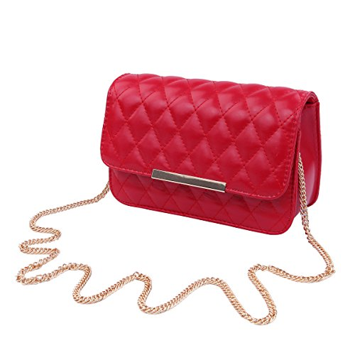 Classic Smooth Quilted Flap Clutch Handbag Crossbody Shoulder Bag, -