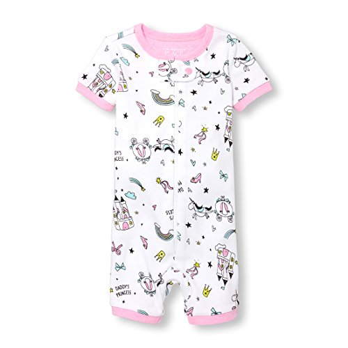 (The Children's Place Baby Girls Short Sleeve One-Piece Pajamas, White 3, 3T)