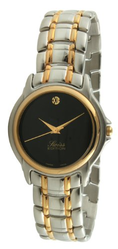 Swiss Edition Men Bracelet Dress Watch with Gold Plated Bezel, Black Dial and Swiss Made Analog Quartz Movement