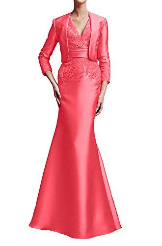 La Marie mit Wassermelon Abendkleider Braut Ballkleider Wassermelon Elegant Bolero Brautmutterkleider Langarm BBwTrxq