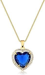 Colar de coração c/pedra azul cravejada folheado em ouro