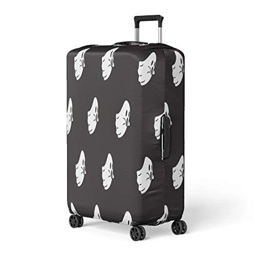 Pinbeam Luggage Cover Pattern Ghost Halloween Monster Spooky Autumn Black Cartoon Travel Suitcase Cover Protector Baggage Case Fits 18-22 -