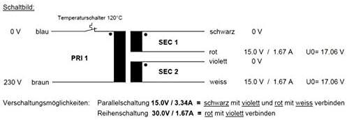 Transformador toroidal 50VA 230V 2x15V 1x30V ; Sedlbauer RSO-825015