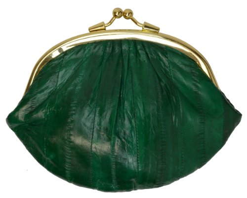 Green Eel (EEL SKIN COIN PURSE EELSKIN CHANGE WALLET LARGE DOUBLE (Green))