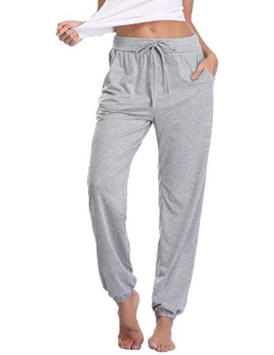 Abollria Women's Cotton Pajama Pants Stretch Knit Lounge Pants with Pockets Grey L