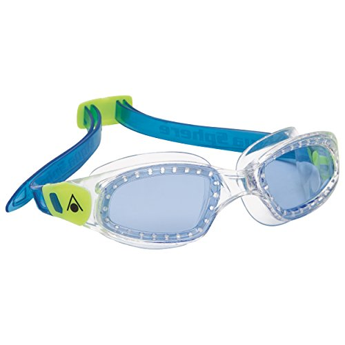 Aqua Sphere Kameleon Junior Swim Goggles with Blue Lens (Blue/Lime). UV Protection Anti-Fog Swimming Goggles for Kids