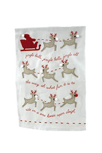 Mudd Pie Jingle Bells Linen Christmas Carol Tea ()