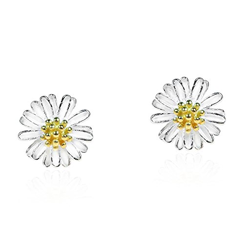 Mini Daisy Two-Tone Gold Plated Over .925 Sterling Silver Post Earrings (Vermeil Plated Earring Studs)