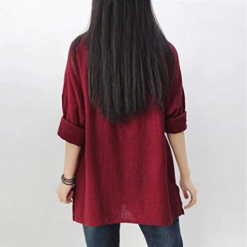 Rouge Femme Blouse Costume O Pulli Elgante Baggy Et Haut Lin Oversize Printemps Longues Manches Vintage Col Shirts Unicolore Mode Casual Chic qwRrzxq