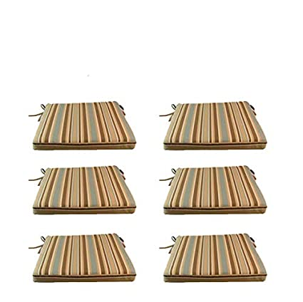 Edenjardi Pack 6 Cojines para sillas y sillones de jardín Color Lux Estampado a Rayas | Tamaño 44x44x5 cm | Repelente al Agua | Desenfundable | Portes ...