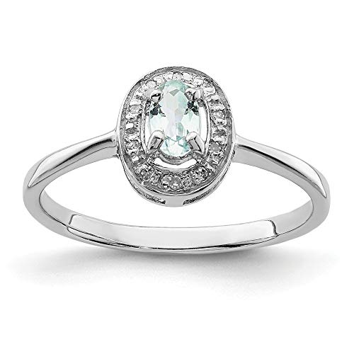 925 Sterling Silver Aqua Diamond Band Ring Size 8.00 Gemstone Fine Jewelry Gifts For Women For Her ()