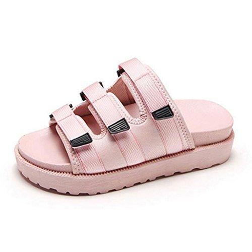 Femelle Pink CN36 Fraîches EU36 D'été Pantoufles D'étudiant Sandales Chaussures Extérieur De UK4 Taille Pink De Xy® Plage D'oscillation Augmentent De De Couleur Mode Antidérapantes Les Bascule vTSqxw4