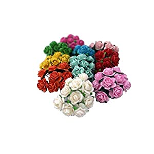 100 Mixed Color 10mm Artificial Mulberry Paper Rose Flower Wedding Scrapbook 1.5cm DIY Craft Scrapbook Scrapbooking Bouquet Craft Stem Handmade Rose Valentines Anniversary Embellishment Mini Roses 2
