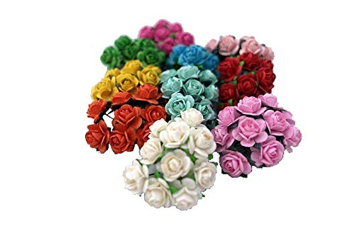 100-Mixed-Color-10mm-Artificial-Mulberry-Paper-Rose-Flower-Wedding-Scrapbook-15cm-DIY-Craft-Scrapbook-Scrapbooking-Bouquet-Craft-Stem-Handmade-Rose-Valentines-Anniversary-Embellishment-Mini-Roses