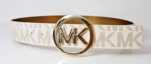 Michael Kors Mk Signature Monogram Logo Gold Buckle Belt Vanilla White Size ()