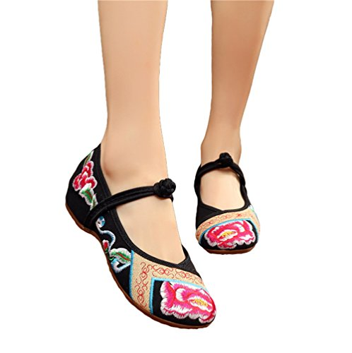 AvaCostume Womens Peony Embroidery Old Beijing Dancing Dress Shoes Black g82083Qy