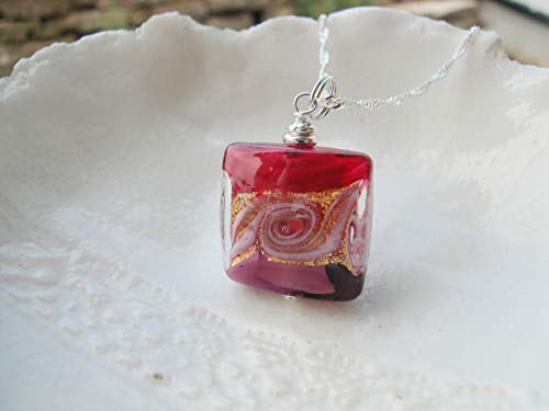 Square Raspberry Murano Glass Necklace