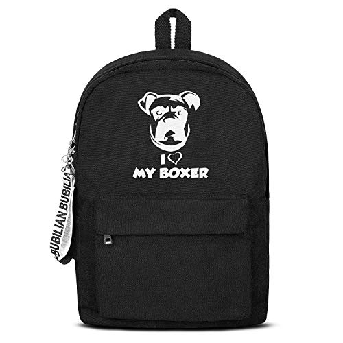 11.5x 5x16.5 Inch Teen Student Outdoor Heavy Duty Canvas Backpack I Love My Boxer Dog Travel Hiking Camping Large Daypack Casual College School Laptop Bag