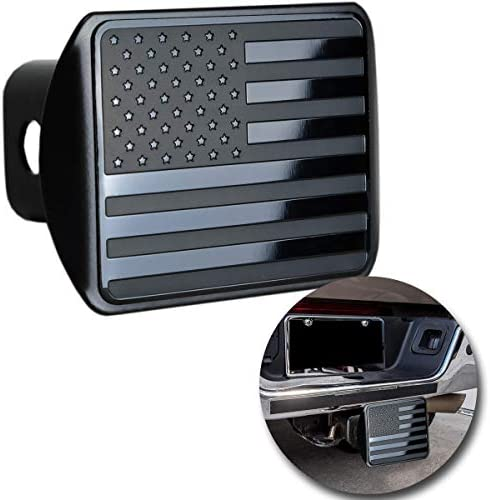 VaygWay American Flag Hitch Cover- Metal USA Flag Trailer Hitch Cover - Patriotic Flag Plug Hitch Cover